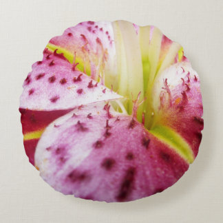 Stargazer Lily Bright Magenta Floral Round Pillow