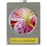 Stargazer Lily Bright Magenta Floral Silver Plated Banner Ornament