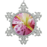 Stargazer Lily Bright Magenta Floral Snowflake Pewter Christmas Ornament