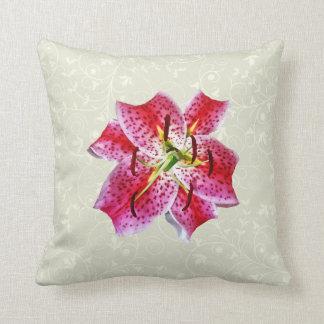 Stargazer Lily Closeup Throw Pillow