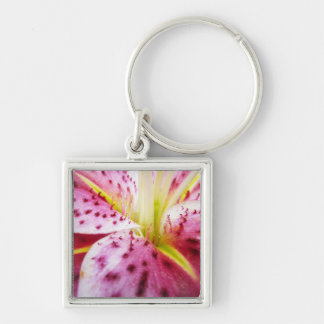 Stargazer Lily Colorful Abstract Pink Floral Silver-Colored Square Keychain