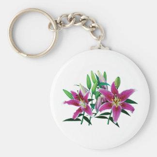 Stargazer Lily Family Basic Round Button Keychain