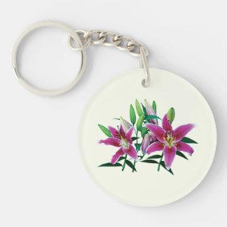 Stargazer Lily Family Double-Sided Round Acrylic Keychain