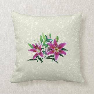 Stargazer Lily Family Throw Pillow