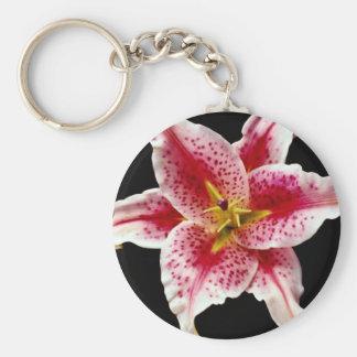 Stargazer lily  flowers keychain