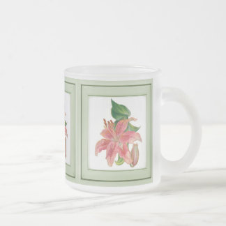 Stargazer Lily Frosted Glass Coffee Mug