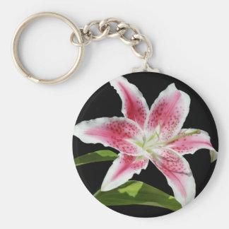 Stargazer Lily Basic Round Button Keychain