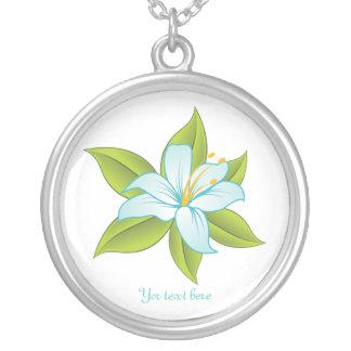 Stargazer lily light blue custom silver pendant