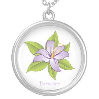 Stargazer lily lilac purple custom silver pendant