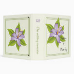 Stargazer lily lilac purple wedding custom binder vinyl binder