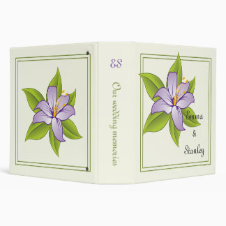 Stargazer lily lilac purple wedding custom binder