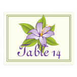Stargazer lily lilac purple wedding table number postcards