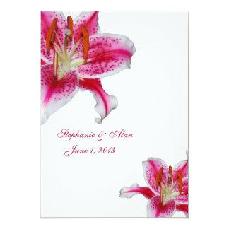 Stargazer Lily On White Wedding Invitation