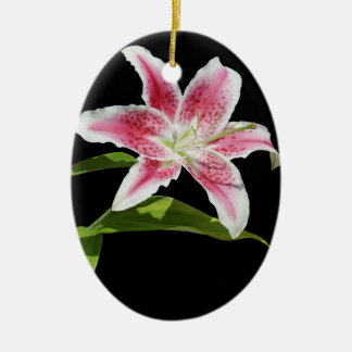 Stargazer Lily Double-Sided Oval Ceramic Christmas Ornament