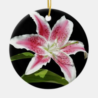 Stargazer Lily Double-Sided Ceramic Round Christmas Ornament