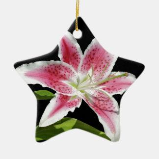 Stargazer Lily Double-Sided Star Ceramic Christmas Ornament
