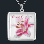 "Stargazer Lily Wedding Party Necklace<br><div class=""desc"">A gift to your Flower Girl to thank her for being in your bridal party. Need help with customization? Just ASK!</div>"