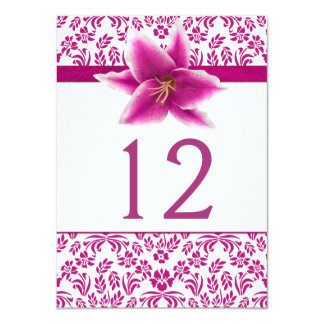 Stargazer Lily Wedding Table Number Card