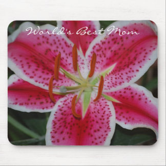 Stargazer Lily World's Best Mom Mousepad