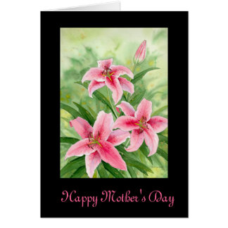 Stargazer Pink Lily Mother's Day Card