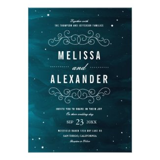 wedding invitation and stationery for a starry night themed wedding with stars and dark blue sky