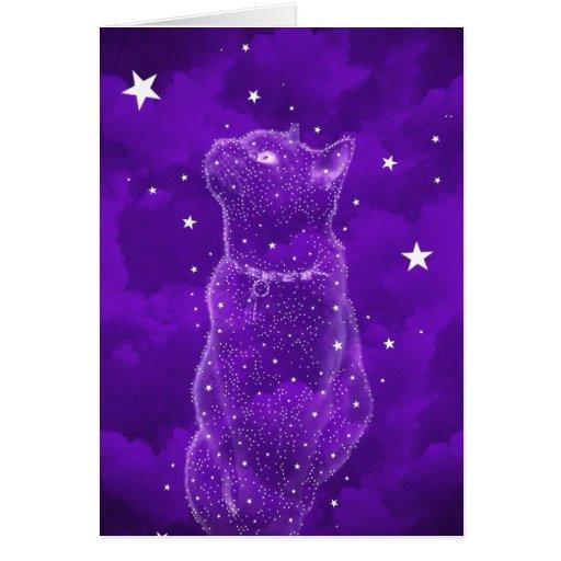 Stargazing Cat Greeting Card
