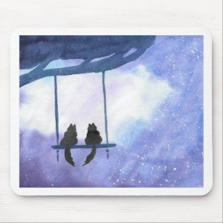 Stargazing Kitties Mouse Pad