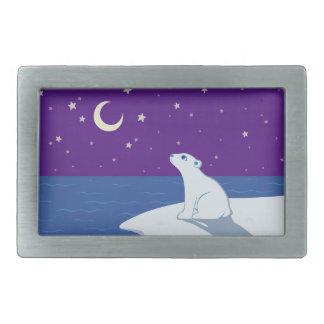 Stargazing Polar Bear Cub Art Belt Buckles