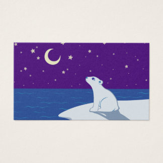 Stargazing Polar Bear Cub Art Business Card