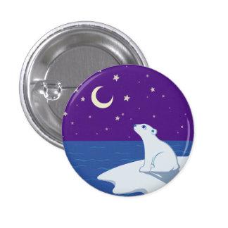 Stargazing Polar Bear Cub Art Pinback Buttons