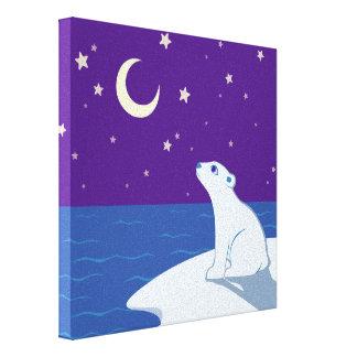 Stargazing Polar Bear Cub Art Canvas Print