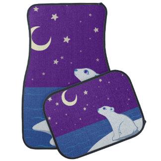 Stargazing Polar Bear Cub Art Car Mat