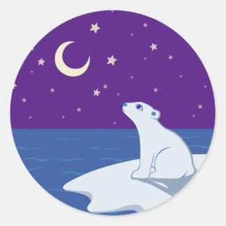 Stargazing Polar Bear Cub Art Classic Round Sticker