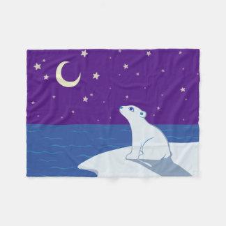 Stargazing Polar Bear Cub Art Fleece Blanket