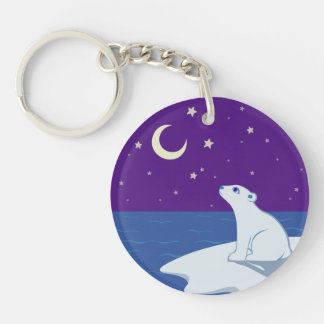 Stargazing Polar Bear Cub Art Keychain