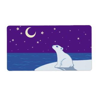 Stargazing Polar Bear Cub Art Label