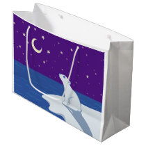 Stargazing Polar Bear Cub Art Large Gift Bag