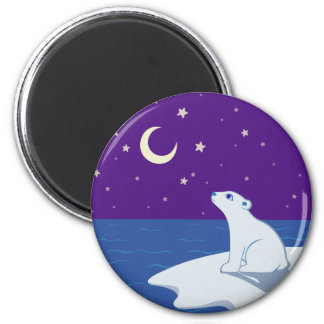 Stargazing Polar Bear Cub Art Fridge Magnets