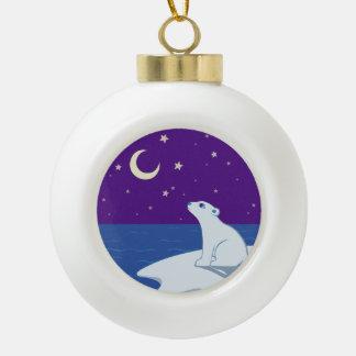 Stargazing Polar Bear Cub Art Ornament