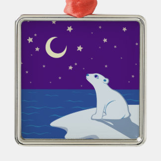 Stargazing Polar Bear Cub Art Ornaments