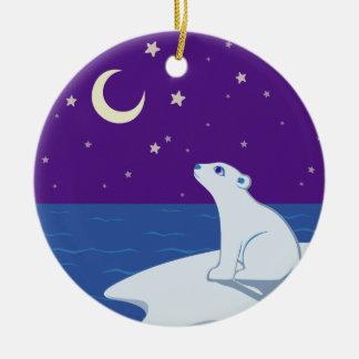 Stargazing Polar Bear Cub Art Christmas Ornaments