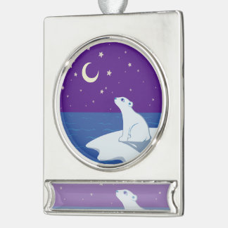 Stargazing Polar Bear Cub Art Silver Plated Banner Ornament