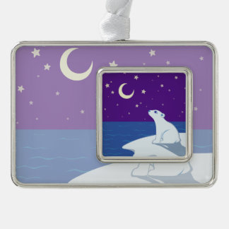 Stargazing Polar Bear Cub Art Silver Plated Framed Ornament