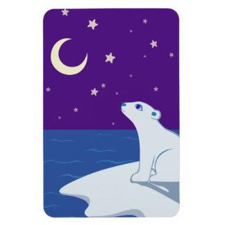 Stargazing Polar Bear Cub Art Rectangle Magnet