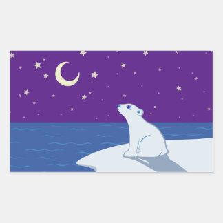 Stargazing Polar Bear Cub Art Rectangular Sticker