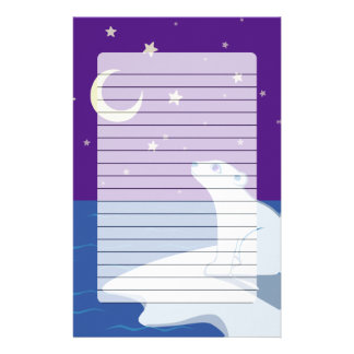 Stargazing Polar Bear Cub Art Customized Stationery