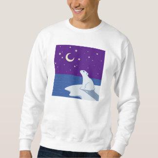 Stargazing Polar Bear Cub Art Sweatshirt
