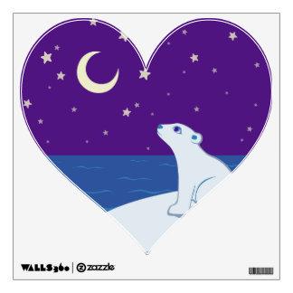 Stargazing Polar Bear Cub Art Wall Sticker