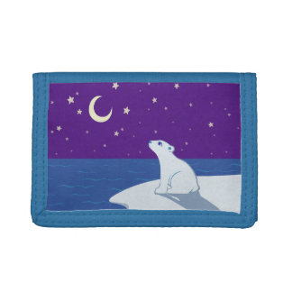 Stargazing Polar Bear Cub Art Tri-fold Wallet