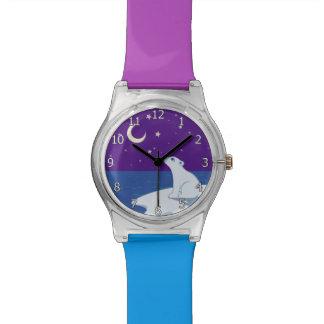 Stargazing Polar Bear Cub Art Wrist Watch
